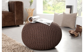 Designer Sitzhocker KNITTED DARK COFFEE