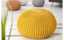 Designer Sitzhocker KNITTED YELLOW