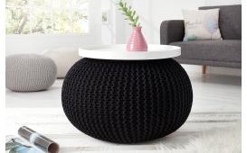 Designer Sitzhocker KNITTED BLACK