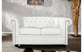 Designer Sofa CHESTERFIELD 2er WHITE