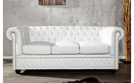 Designer Sofa CHESTERFIELD 3er WHITE