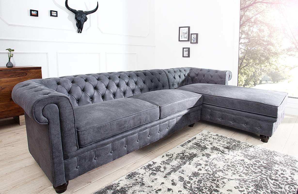 designer sofa chesterfield grey bei nativo m bel. Black Bedroom Furniture Sets. Home Design Ideas