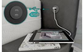Boxspringbett FRANKFURT in Leder inkl. Topper & USB Anschluss