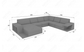 Designer Rattan Lounge Sofa CAREZZA XXL mit LED Licht