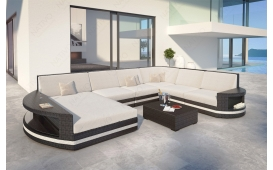 Designer Rattan Lounge Sofa ATLANTIS XXL mit LED Licht
