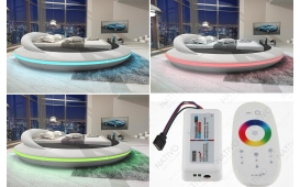 Designer Lederbett MARS mit Stauraum-Funktion inkl. LED Beleuchtung & USB Anschluss von NATIVO Möbel Österreich