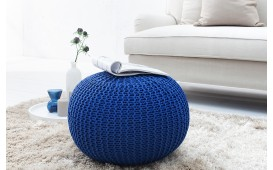 Designer Sitzhocker KNITTED DARK BLUE