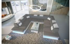 Designer Sofa ROUGE CORNER U FORM mit LED Beleuchtung & USB Anschluss