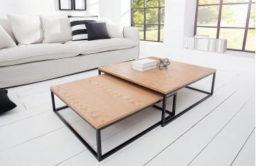 Designer Couchtisch UNITY OAK BLACK SET 2 von NATIVO™ Designer Möbel Österreich