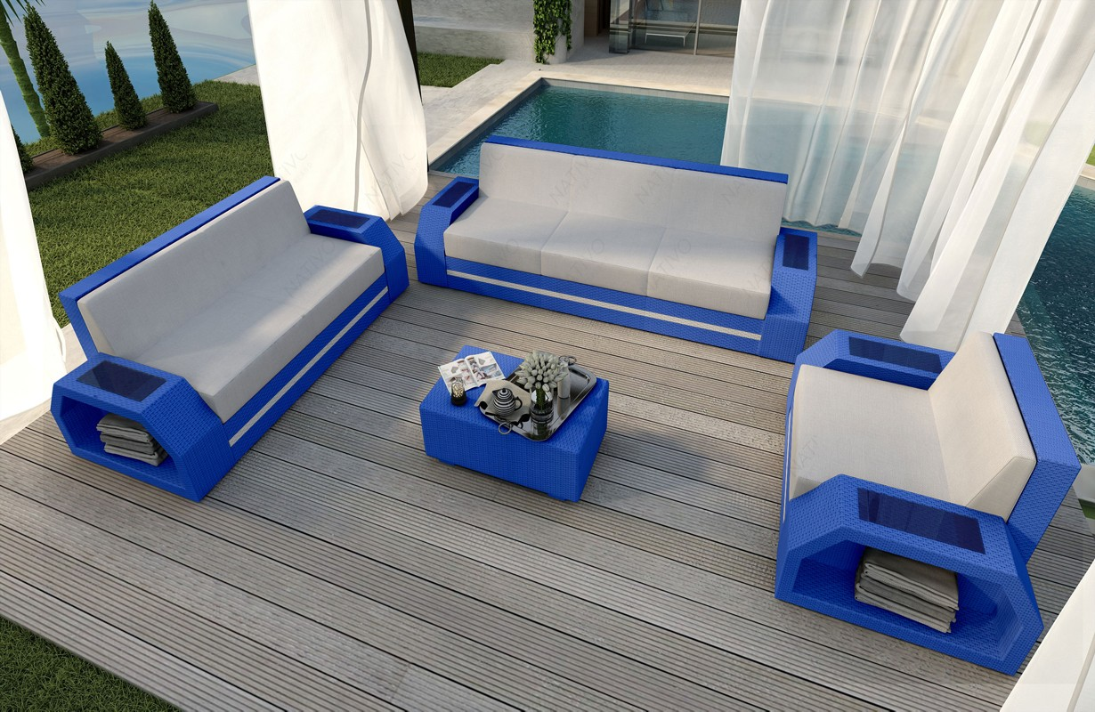 Rattan Set Lounge CLERMONT 3+2+1 Modular von NATIVO Möbel WIEN