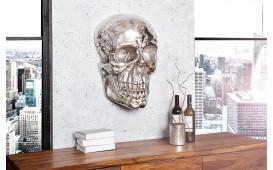 Designer Wandskulptur CRANIUM SILVER 40 cm
