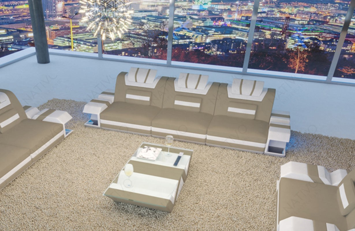 e66d42d9fdcd2c 3 Sitzer Leder Sofa MYSTIQUE mit LED Beleuchtung   USB Anschluss von NATIVO™  Möbel Österreich ...
