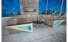 Designer Sofa FALCO CORNER U FORM mit LED Beleuchtung & USB Anschluss