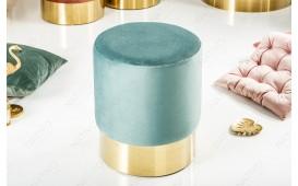 Designer Sitzhocker ROCCO MINT GOLD 35 cm