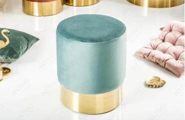 Designer Sitzhocker ROCCO MINT GOLD 35 cm NATIVO™ Möbel Österreich