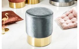 Designer Sitzhocker ROCCO SILVER GOLD 35 cm