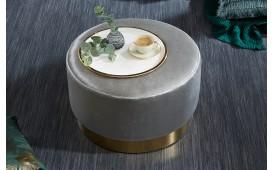 Designer Sitzhocker ROCCO SILVER GOLD 55cm