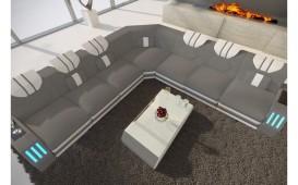 Designer Sofa CLERMONT CORNER mit LED Beleuchtung (Astoria 20 / Weiss) AB LAGER NATIVO™ Möbel Österreich