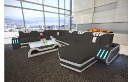 Designer Sofa CLERMONT XXL mit LED Beleuchtung (Dunkelgrau K230 / Weiss) ab lager NATIVO™ Möbel Österreich