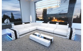 Designer Sofa IMPERIAL CORNER mit LED Beleuchtung (Weiss / Schwarz) AB LAGER