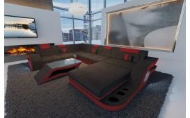 Designer Sofa HERMES XXL mit LED Beleuchtung (Schwarz / Rot) ab Lager NATIVO™ Möbel Österreich