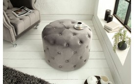 Designer Sitzhocker CHESTERFIELD LIGHT GREY 60 cm
