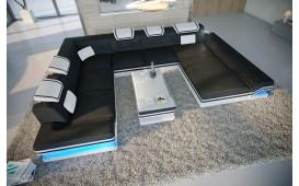 Designer Sofa ROUGE XXL mit LED Beleuchtung & USB Anschluss (Schwarz/Weiss BA1) ab lager NATIVO™ Möbel Österreich