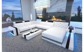 Designer Sofa IMPERIAL XXL mit LED Beleuchtung (Weiss/Schwarz) AB LAGER