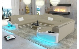 Designer Sofa DIABLO CORNER U FORM mit LED Beleuchtung & USB Anschluss