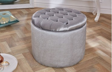 Designer Sitzhocker ROCCO BIG SILVER 50 cm von NATIVO™ Designer Möbel Österreich