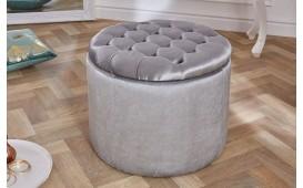 Designer Sitzhocker ROCCO BIG SILVER 50 cm
