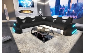 Designer Sofa NEMESIS CORNER mit LED Beleuchtung & USB Anschluss (Schwarz/Weiss BA1) ab lager