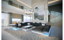 Designer Sofa ROUGE XXL mit LED Beleuchtung & USB Anschluss (Schwarz/Weiss BA1) ab lager