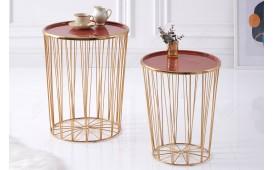 Designer Couchtisch CAGE LUX SET 2 CORAL-GOLD von NATIVO™ Designer Möbel Österreich