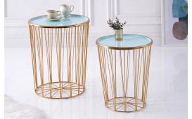 Designer Couchtisch CAGE LUX SET 2 TIRKIZ-GOLD von NATIVO™ Designer Möbel Österreich