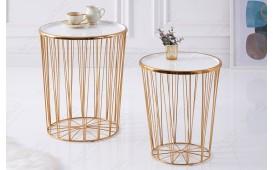 Designer Couchtisch CAGE LUX SET 2 WHITE-GOLD von NATIVO™ Designer Möbel Österreich