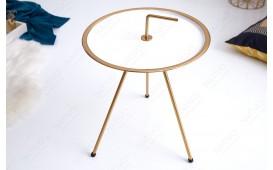 Designer Couchtisch SIMPLY BRIGHT WHITE-GOLD 42 cm