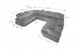 Designer Sofa NEMESIS CORNER U FORM mit LED Beleuchtung & USB Anschluss (Schwarz/K105) AB LAGER