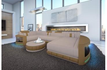 Designer Sofa ATLANTIS XL mit LED Beleuchtung & USB Anschluss (Astoria 03 / Cappuccino) AB LAGER