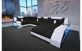 Designer Sofa MATIS XL mit LED Beleuchtung (Schwarz / Weiss) AB LAGER