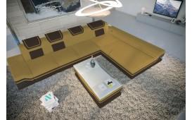 Designer Sofa ROUGE MINI mit LED Beleuchtung & USB Anschluss (Magnolia / Dunkelbraun) AB LAGER