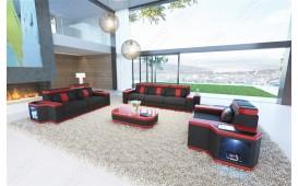 Designer Sofa CESARO 3+2+1 mit LED Beleuchtung (Schwarz / Rot CE20) AB LAGER