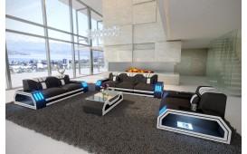 Designer Sofa CLERMONT 3+2+1 mit LED Beleuchtung (Schwarz / Weiss) AB LAGER
