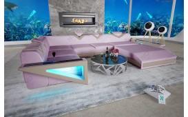 Designer Sofa FALCO XXL mit LED Beleuchtung & USB Anschluss (Lavander / Creme) AB LAGER NATIVO™ Möbel Österreich