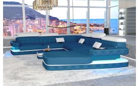 Designer Sofa EXODUS XXL mit LED Beleuchtung & USB Anschluss (PARIS ocean / Kunstleder Weiss) AB LAGER
