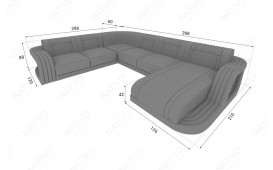 Designer Sofa ROYAL CORNER U FORM mit LED Beleuchtung & USB Anschluss (Antrazyt /Weiss) AB LAGER