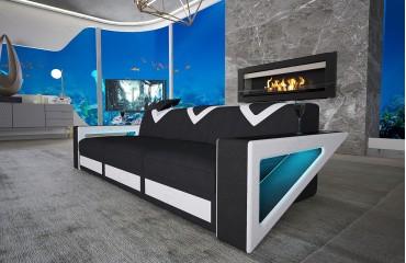 3 Sitzer Sofa FALCO mit LED Beleuchtung & USB Anschluss (Schwarz/Weiss) AB LAGER NATIVO™ Möbel Österreich