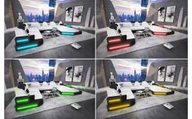 Designer Sofa NEMESIS XXL mit LED Beleuchtung & USB Anschluss (Weiss/Schwarz) ab lager