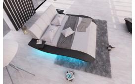 Designer Lederbett BERN V2 inkl. LED Beleuchtung & USB Anschluss (WEISS / SCHWARZ) AB LAGER NATIVO™ Möbel Österreich