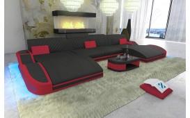 Designer Sofa DIABLO XXL DUO mit LED Beleuchtung & USB Anschluss (Schwarz / Rot CE20) AB LAGER